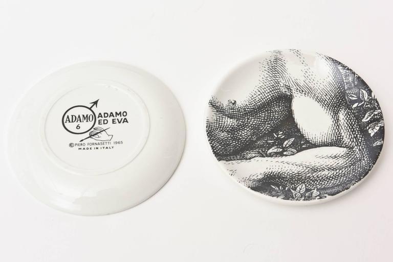 "Set of Eight Mid-Century Piero Fornasetti Porcelain Coasters ""Adam""/ Bareware 6"