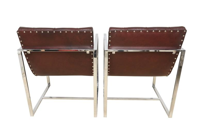 American Pair of Milo Baughman Leather Tufted Cube Scoop Chrome Side Chairs For Sale