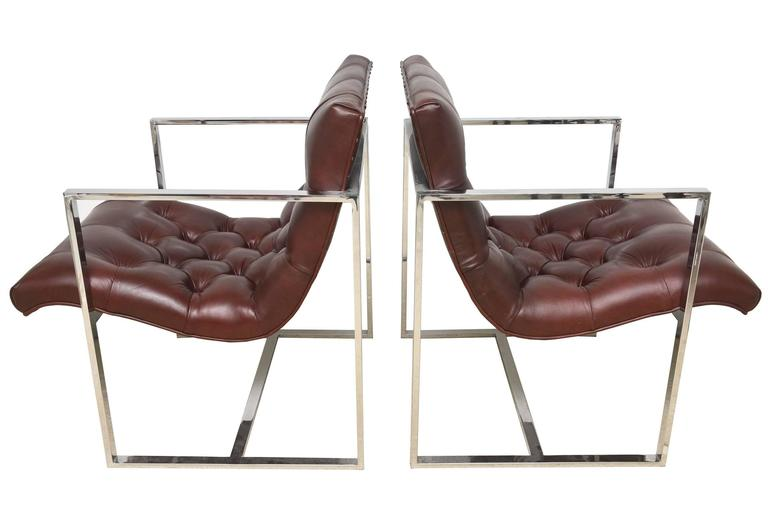 Modern Pair of Milo Baughman Leather Tufted Cube Scoop Chrome Side Chairs For Sale