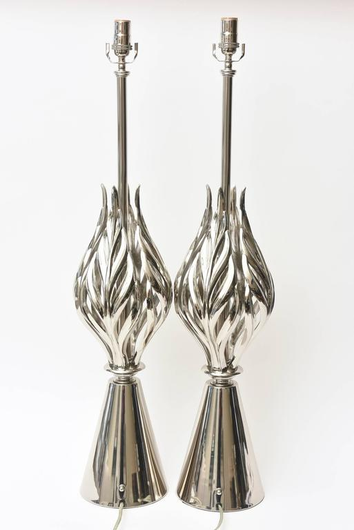 Rembrandt Nickel Silver Lamps Mid-Century Modern Pair of Vintage For Sale 2