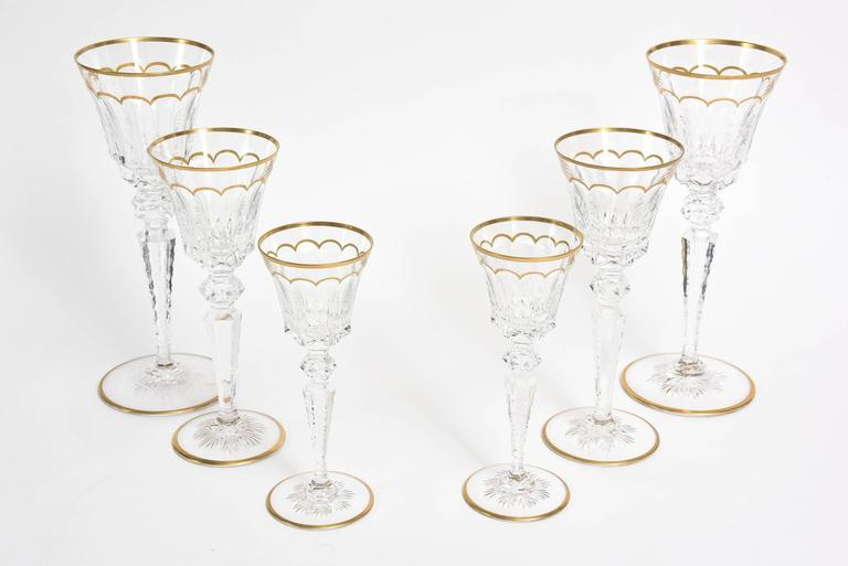 This gorgeous set of three different sizes of this ultra-fine crystal St. Louis stemware You Y Yo is for two. Romantic in purpose, opulence in setting, ultra-fine in class. Hence the name for two. It is from the