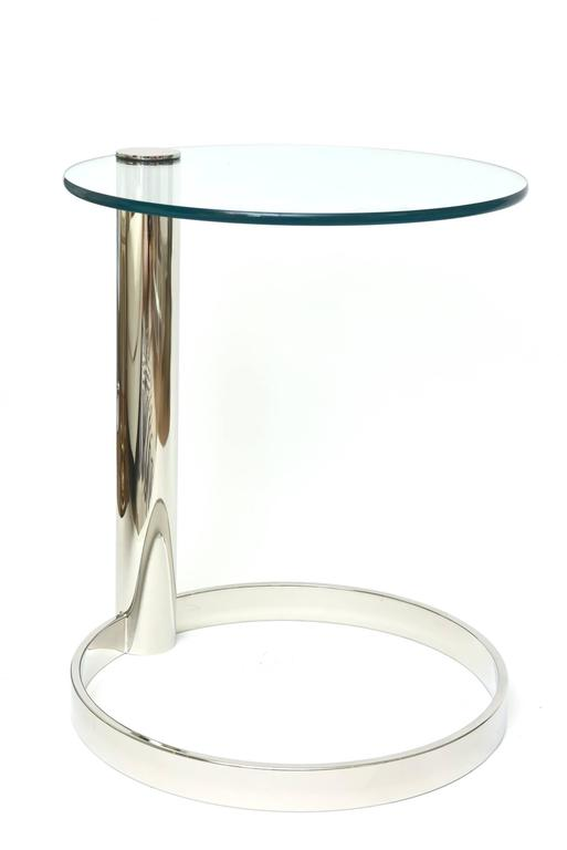 Pace Modern Nickel Silver and Glass Round Sculptural Cantilver Side Table 2