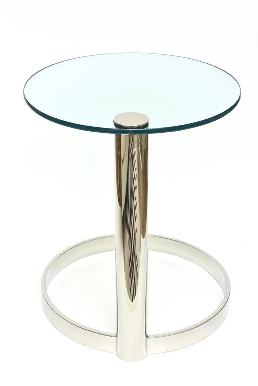 Pace Modern Nickel Silver and Glass Round Sculptural Cantilver Side Table 9