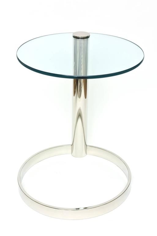 Pace Modern Nickel Silver and Glass Round Sculptural Cantilver Side Table 6