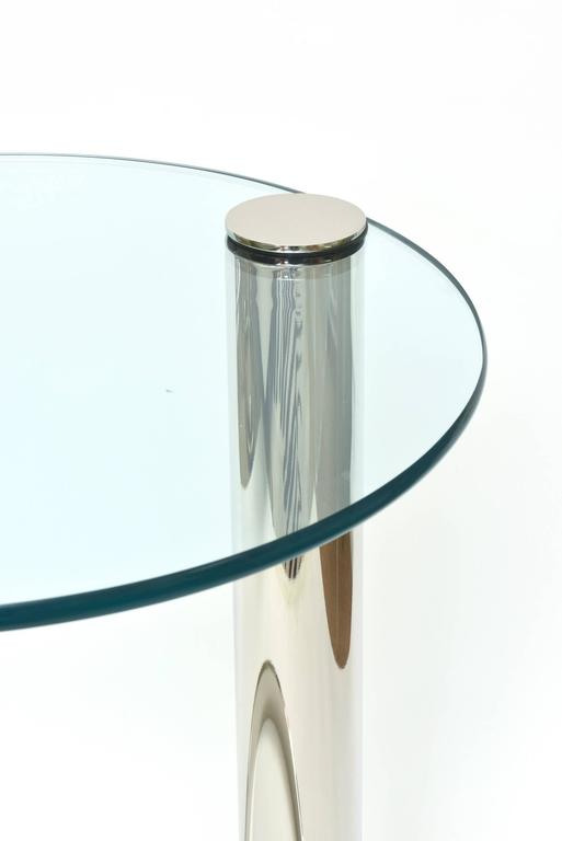 Pace Modern Nickel Silver and Glass Round Sculptural Cantilver Side Table 3