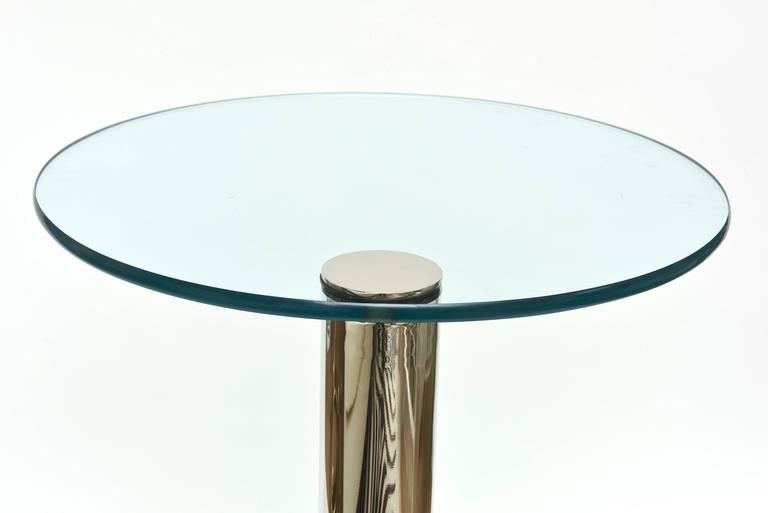 Pace Modern Nickel Silver and Glass Round Sculptural Cantilver Side Table 7