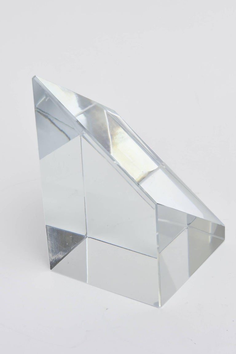 Modern Prismatic Crystal Tiffany Paperweight Sculpture or Desk Accessory