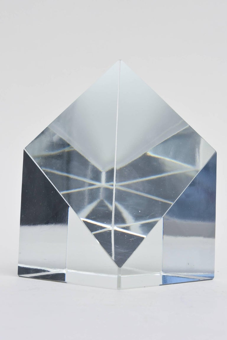 Prismatic Crystal Tiffany Paperweight Sculpture or Desk Accessory 3