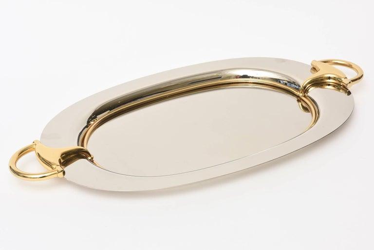 Italian Hallmarked Gucci Horsebit Oval Tray with Handles/Barware 2