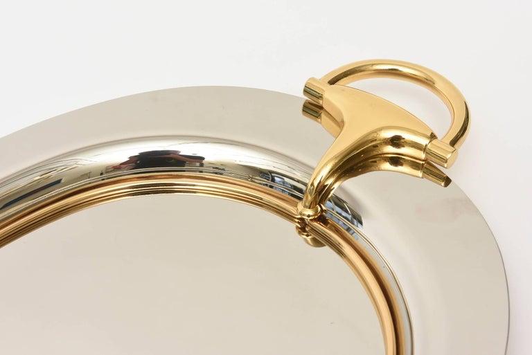 Italian Hallmarked Gucci Horsebit Oval Tray with Handles/Barware 4