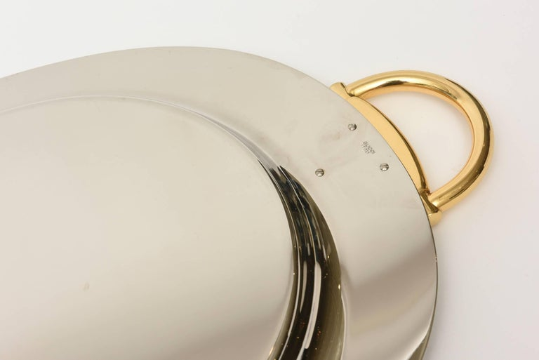 Italian Hallmarked Gucci Horsebit Oval Tray with Handles/Barware 9