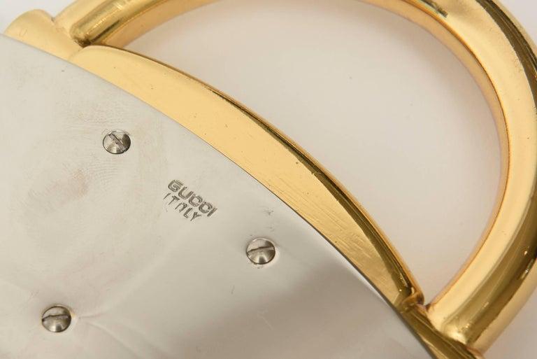 Italian Hallmarked Gucci Horsebit Oval Tray with Handles/Barware 10