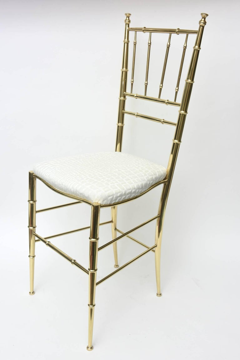 Mid-Century Modern Italian Midcentury Chiavari Faux Bamboo Brass and Upholstered Side Chair  For Sale