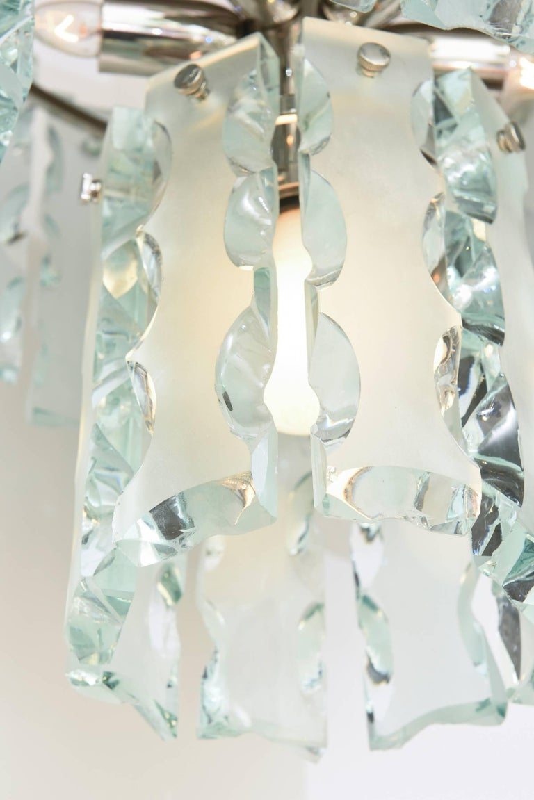 Italian Murano Fontana Arte Attributed to Etched Glass Pendant Chandelier Vintage For Sale