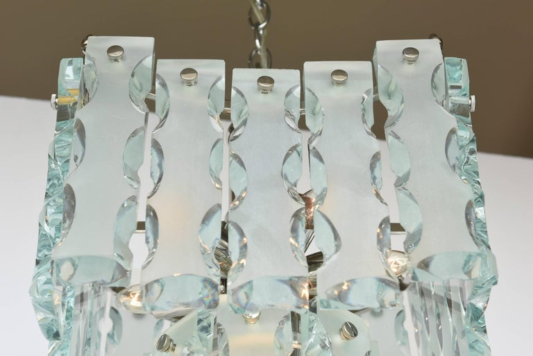 Mid-20th Century Murano Fontana Arte Attributed to Etched Glass Pendant Chandelier Vintage For Sale