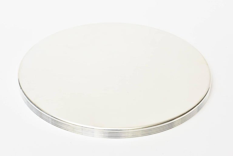 Silver Plate  Christofle Silver-Plate Round Tray Barware Vintage For Sale