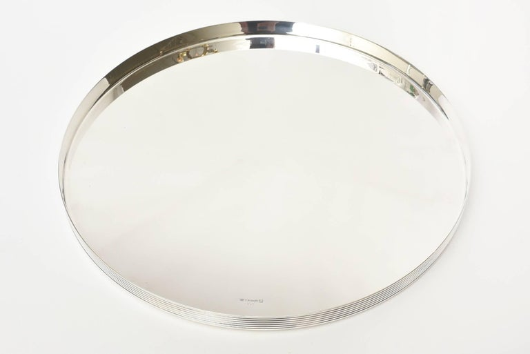 Mid-Century Modern  Christofle Silver-Plate Round Tray Barware Vintage For Sale