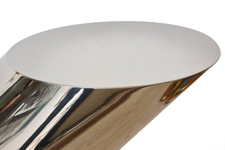 American Zephyr J. Wade Beam for Brueton Stainless Steel Side Table For Sale