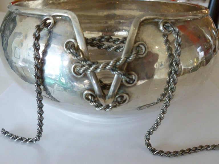 Italian Hand-Forged Corset Chain Sterling Silver Bowl  3