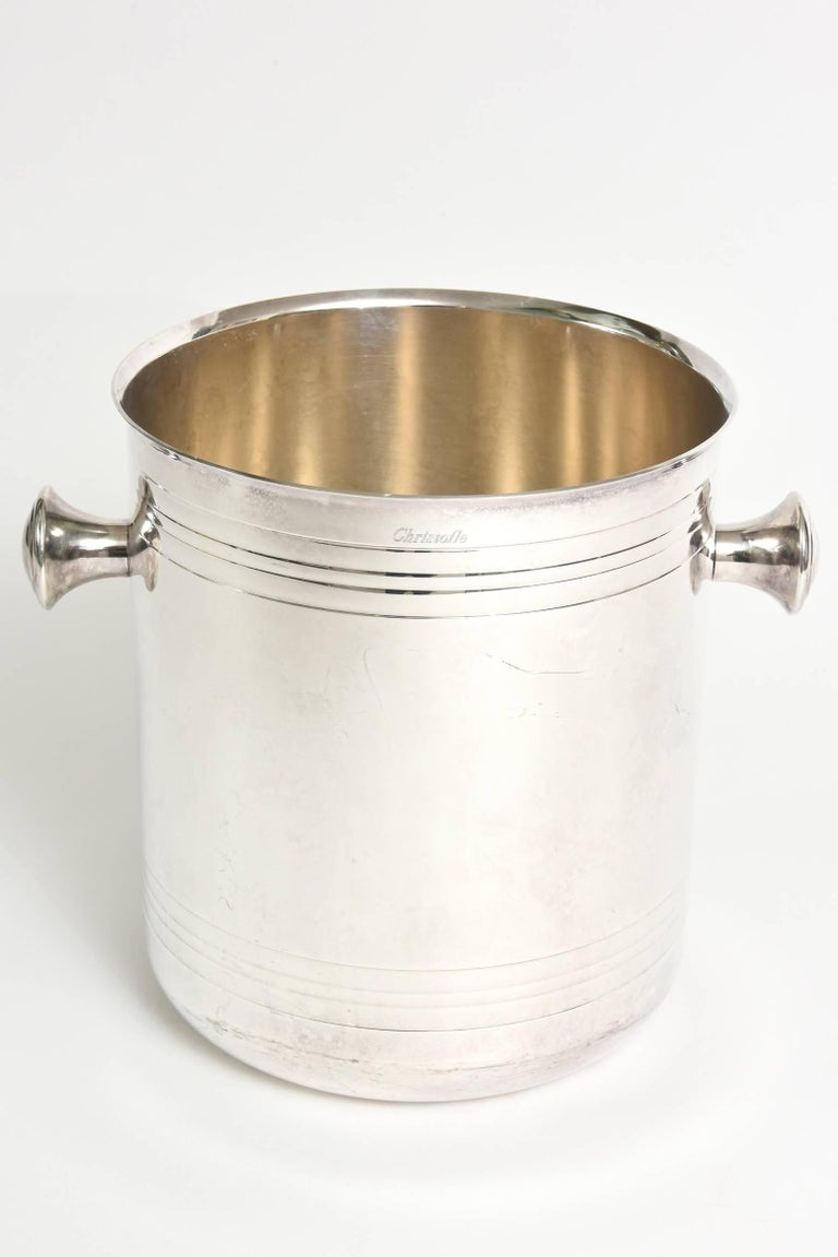 French Christofle Silver-Plate Champagne Cooler Ice Bucket  Barware For Sale