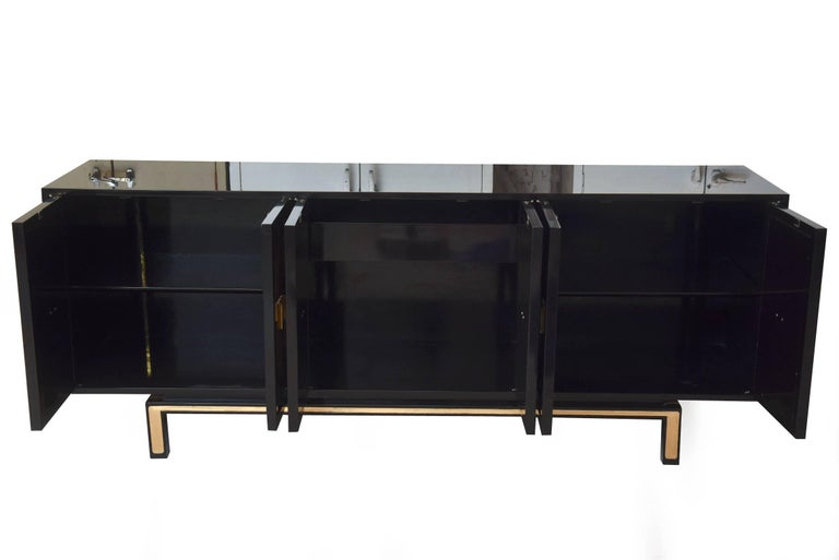 Vintage Lacquered Wood, Gold Leaf and Brass Cabinet/ Buffet In Excellent Condition For Sale In North Miami, FL