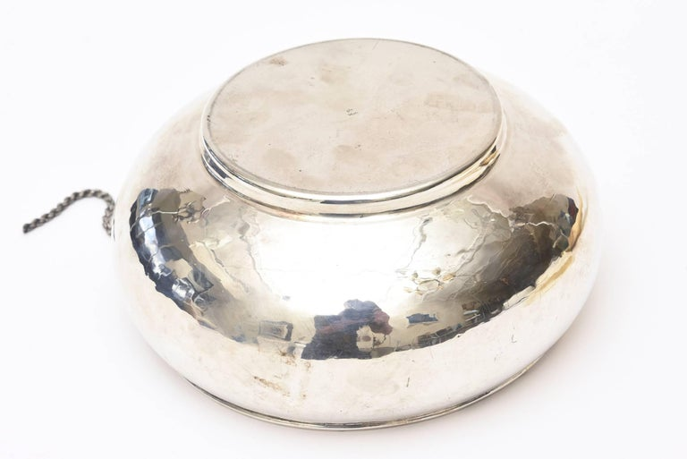 Sterling Silver Lace Up Chain Bowl or Wine Caddy Italian Barware Vintage For Sale 4