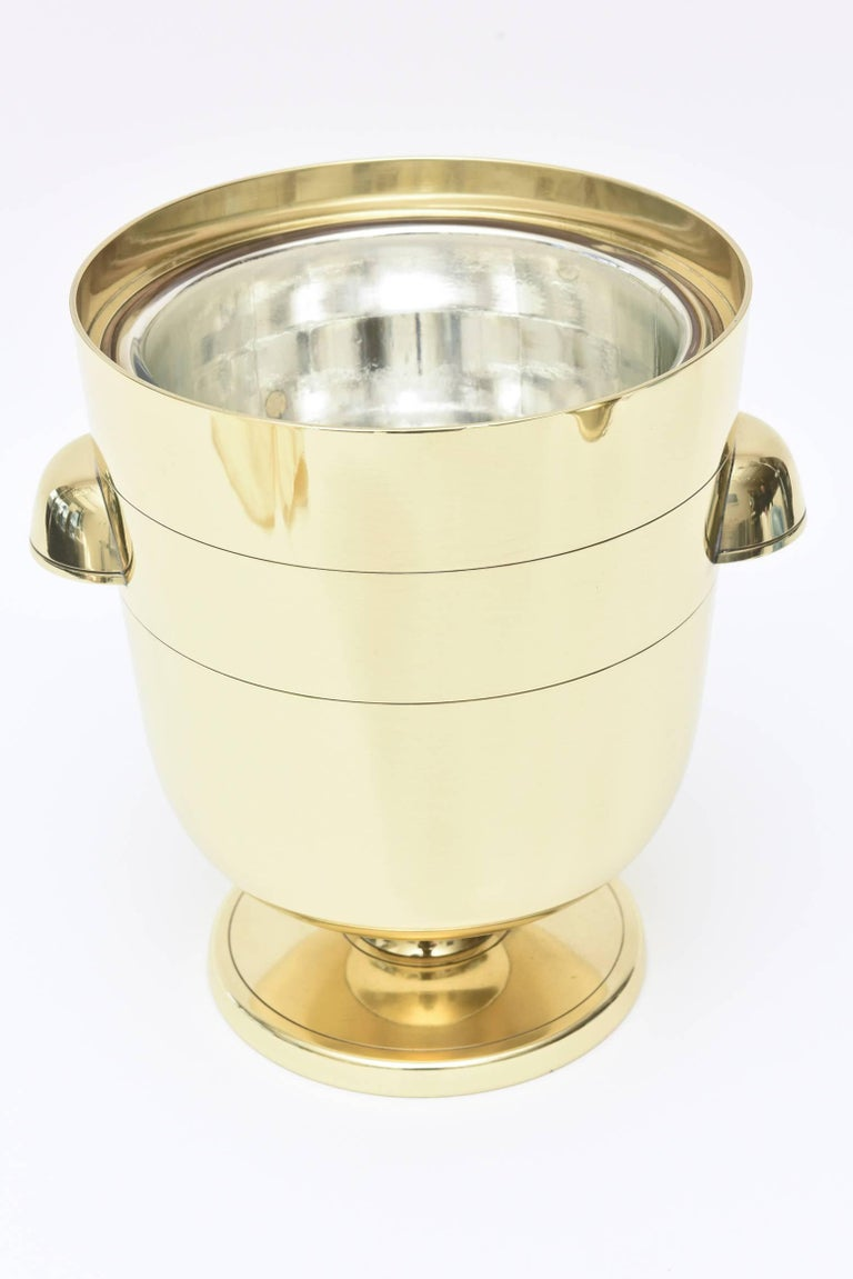 Mid-20th Century Tommi Parzinger Brass Ice and Champagne Bucket Barware Mid-Century Modern For Sale