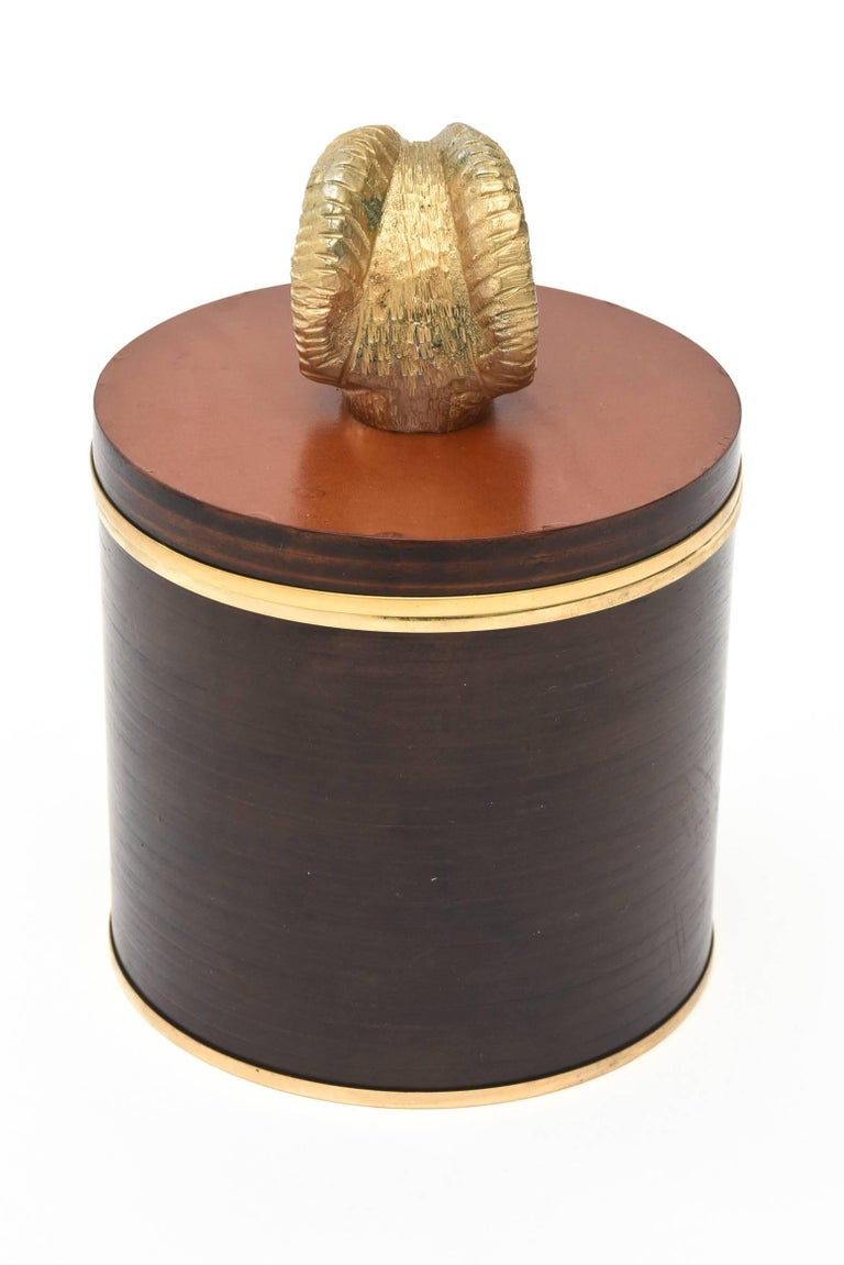 Late 20th Century Italian Signed Gucci Wood, Leather & Brass Rams Head Lidded Box For Sale