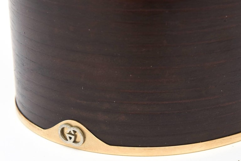Italian Signed Gucci Wood, Leather & Brass Rams Head Lidded Box For Sale 1