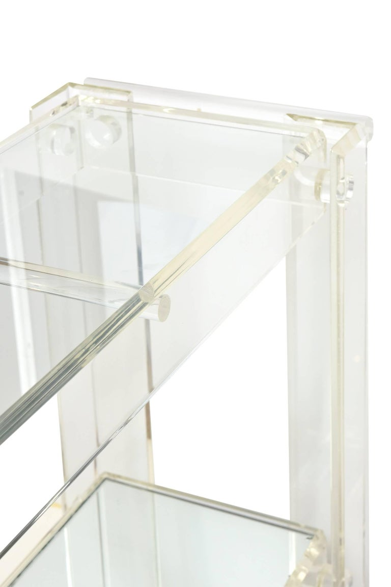 Vintage Lucite Mirrored and Glass Two-Tier Bar Cart or Trolley / SALE For Sale 2
