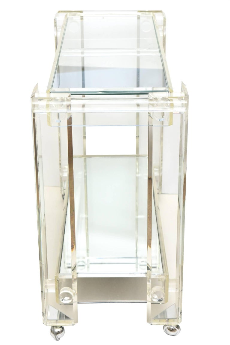 Late 20th Century Vintage Lucite Mirrored and Glass Two-Tier Bar Cart or Trolley / SALE For Sale