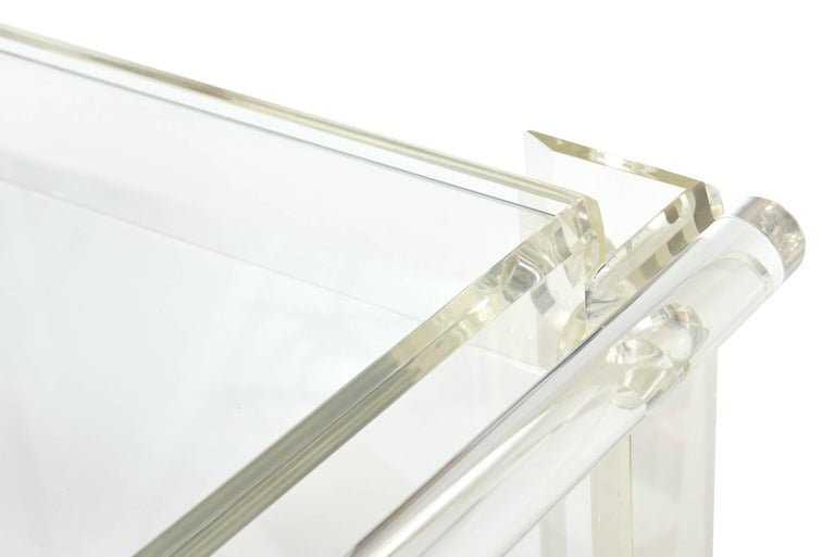 Modern Vintage Lucite Mirrored and Glass Two-Tier Bar Cart or Trolley / SUMMER SALE For Sale