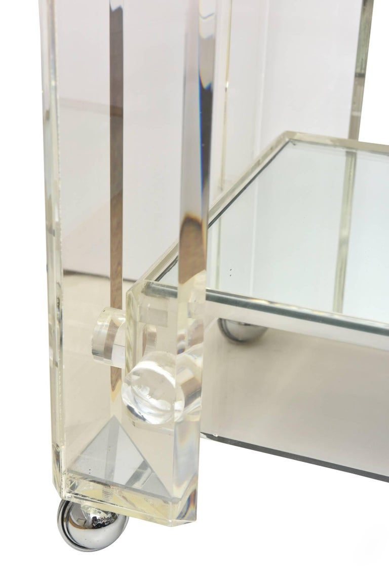 American Vintage Lucite Mirrored and Glass Two-Tier Bar Cart or Trolley / SUMMER SALE For Sale