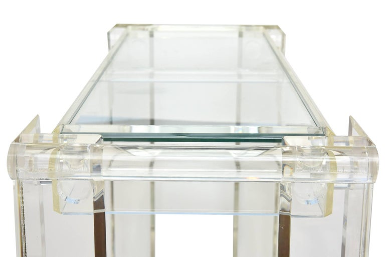 Vintage Lucite Mirrored and Glass Two-Tier Bar Cart or Trolley / SALE For Sale 1