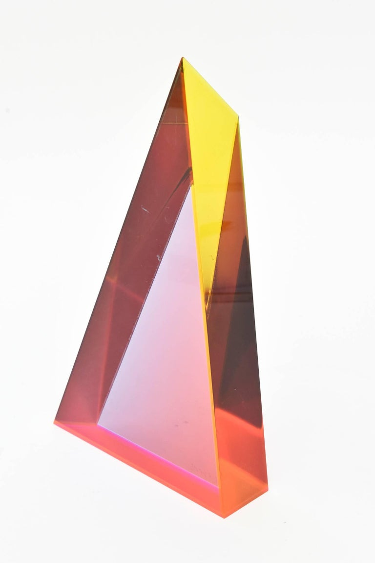 Modern Signed Vasa Mehich Laminated Lucite Triangle Sculpture For Sale