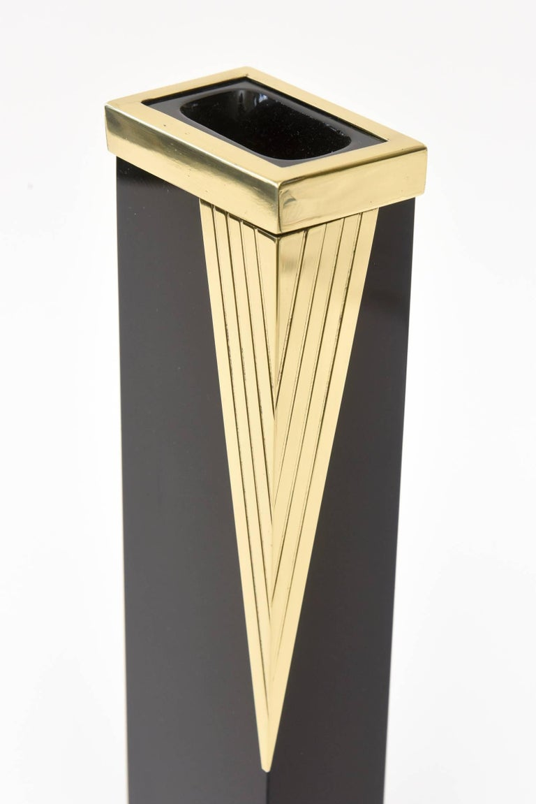 Mid-20th Century Italian Vintage Murano Black Glass and Brass Vase/ Vessel/ Bud Vase  For Sale
