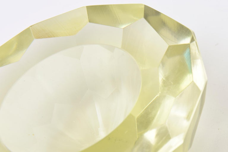 Blown Glass Vintage Italian Murano Diamond Faceted Geode Sommerso Glass Bowl For Sale