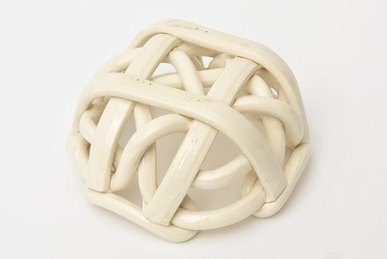 Vintage Twisted Coiled Ceramic Sculptural Bowl For Sale 4