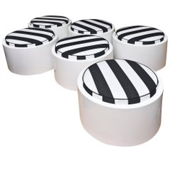 Set of Six White Lacquered Resin & Upholstered Round Outdoor Pool/ Patio Benches