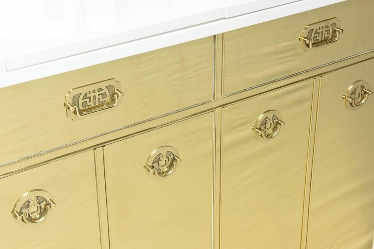 Mastercraft Polished Brass and White Lacquered Wood Dry Bar  2