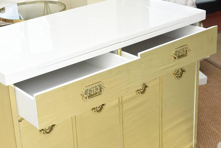 Mastercraft Polished Brass and White Lacquered Wood Dry Bar  3