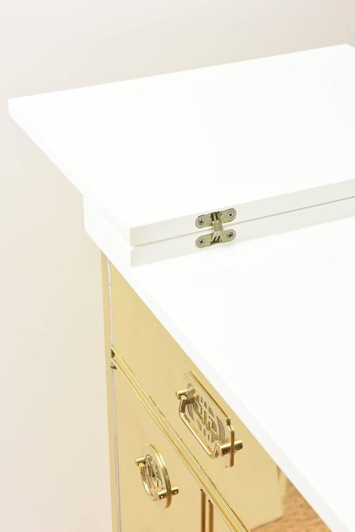 Mastercraft Polished Brass and White Lacquered Wood Dry Bar  7