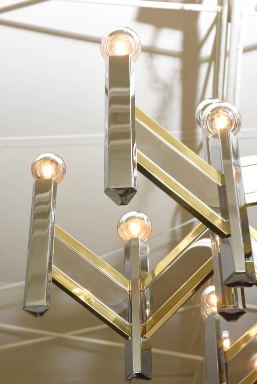 Brass Gaetano Sciolari Mixed Metal Zig Zag Chevron Chandelier For Sale
