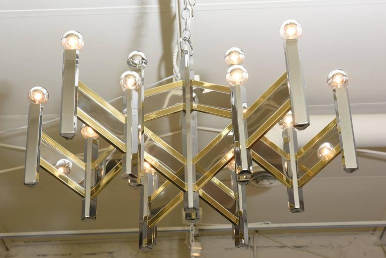 Gaetano Sciolari Mixed Metal Zig Zag Chevron Chandelier For Sale 1