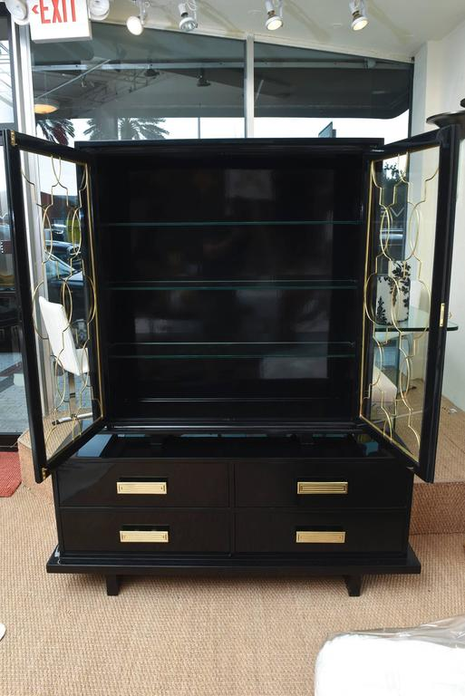 Hollywood Regency Grosfeld House Black Lacquer Over Wood, Brass and Glass Cabinet Vintage For Sale