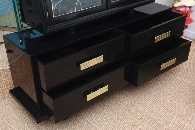 Grosfeld House Black Lacquer Over Wood, Brass and Glass Cabinet Vintage In Good Condition For Sale In North Miami, FL