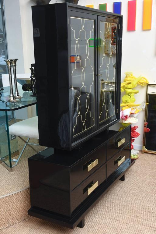 Mid-20th Century Grosfeld House Black Lacquer Over Wood, Brass and Glass Cabinet Vintage For Sale