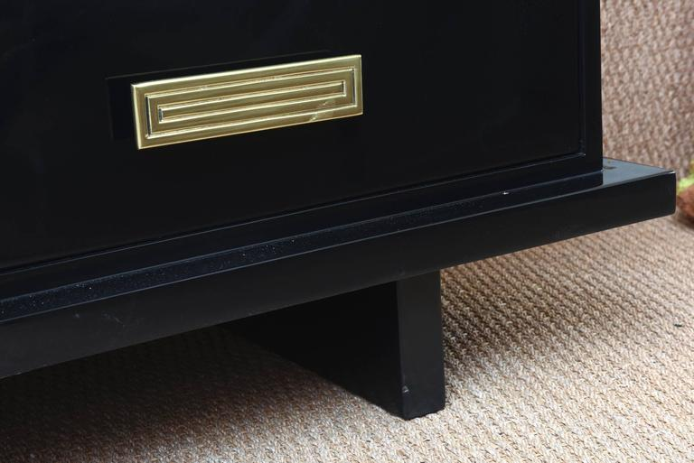 Grosfeld House Black Lacquer Over Wood, Brass and Glass Cabinet Vintage For Sale 3