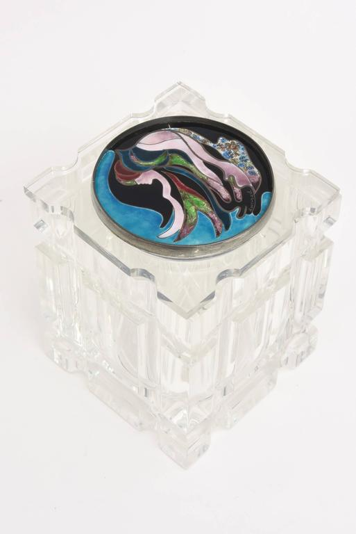 Lucite Box with Foiled Enameled Cloisonné Abstract Top Signed Vintage For Sale 4