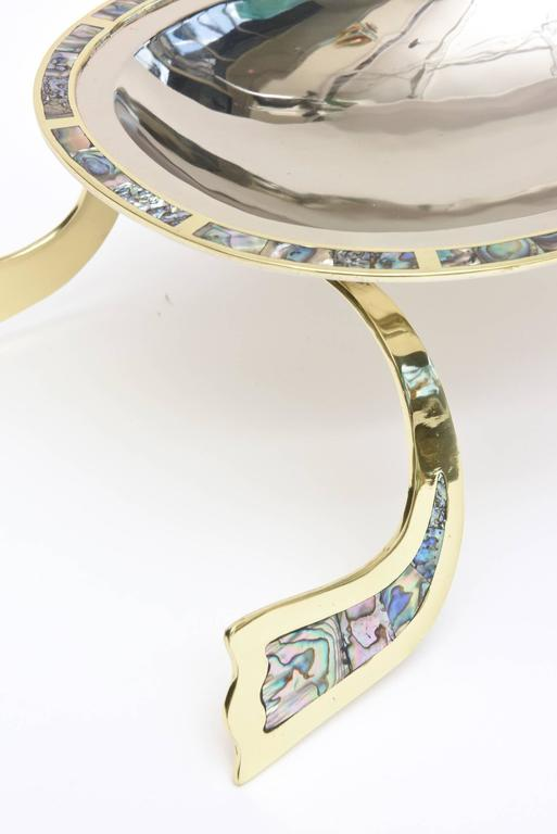 Mexican Los Castillo Abalone, Brass & Silver Plate Centerpiece & or Serving Bowl Vintage For Sale